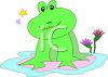 Cartoon Frog Sitting on a Lily Pad clipart