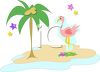 Flamingo on a Tropical Island clipart