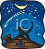 Cat on a Roof at Night clipart