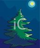 Moon Shining on a Pine Tree clipart