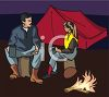 Two People Camping at Night clipart