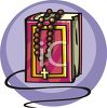 Rosary on a Bible clipart