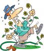 Man Fighting with Weeds in His Yard clipart