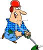 Man Using a Weed Eater clipart