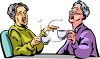 Old Women Drinking Tea and Gossiping clipart