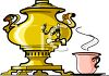 Gold Urn with a Spigot with a Cup of Coffee clipart