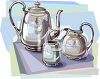 Fancy Silver Tea Set clipart