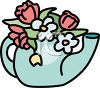 Tea Pot Full of Flowers clipart