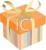 Box with Striped Paper and a Bow clipart