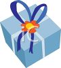 Pretty Present Tied with a Bow and Sealed with a Flower clipart