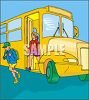 Kids Getting Off of a Schoolbus clipart