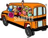 Happy Schoolchildren on the Bus clipart