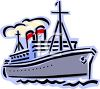 Ship with Smokestacks clipart