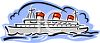 Cruise Ship with Smokestacks clipart