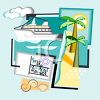 Cruise Ship and Other Travel Icons clipart