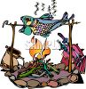 Fish Being Roasted on a Campfire clipart