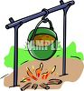 Pot of Stew Cooking Over an Open Fire clipart