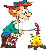Cartoon of a Boy Roasting Wieners Over a Campfire clipart