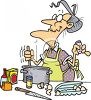 Cartoon of a Gramdma Baking clipart