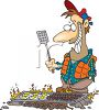 Cartoon of a Man Cooking Breakfast on a Camping Trip clipart