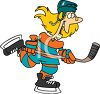 Young Guy Playing Hockey Cartoon clipart