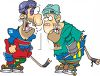 Two Beat Up Hockey Players  clipart