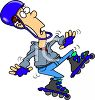 Man Wearing Rollerblades, About to Fall clipart