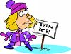 Girl Walking on Thin Ice clipart