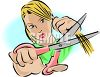 Girl Cutting Her Hair with Scissors clipart