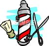 Barber Pole, Shears and a Shaving Brush clipart