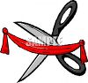 Scissors Cutting a Ribbon clipart