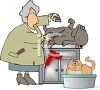 Pet Groomer Clipping a Dog clipart
