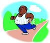 Overweight African American Man Running in the Park clipart