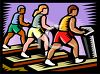 People Working Out on Treadmills clipart