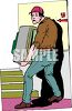 Mover Carrying a TV Up Stairs clipart