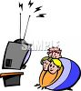 Fat Kids Watching Television clipart