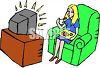 Woman Eating a Frozen Dinner in Front of the Television clipart