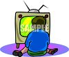 Little Boy Vegging Out In Front of the TV clipart