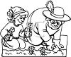 Black and White Cartoon of  a Girl Helping Her Grandma in the Garden clipart