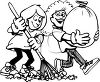 Black and White Cartoon of Friends Helping Each Other Rake Leaves clipart