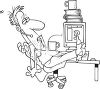 Black and White Cartoon of a Customer Service Person at His Desk clipart
