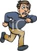 Cartoon of a Scared Man Running for Help clipart