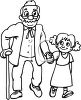 Black and White Cartoon of a Little Girl Helping an Old Man Cross the Street clipart