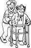 Black and White Cartoon of a man Helping His Elderly Father clipart