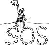 Black and White Cartoon of a Man Making an SOS in the Sand clipart