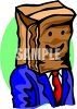 Businessman with a Bag on His Head clipart