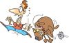 Cartoon of a Mean Dog Chasing a Man clipart