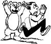 Black and White Man Running from a Bear clipart