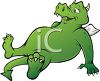 Cartoon of a Dragon with a Full Belly clipart
