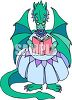 Mother Dragon Reading a Storybook clipart